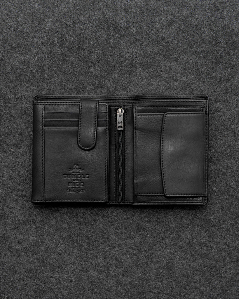 Black Newton Leather Traditional Large Capacity Wallet - Black - Tumble and Hide