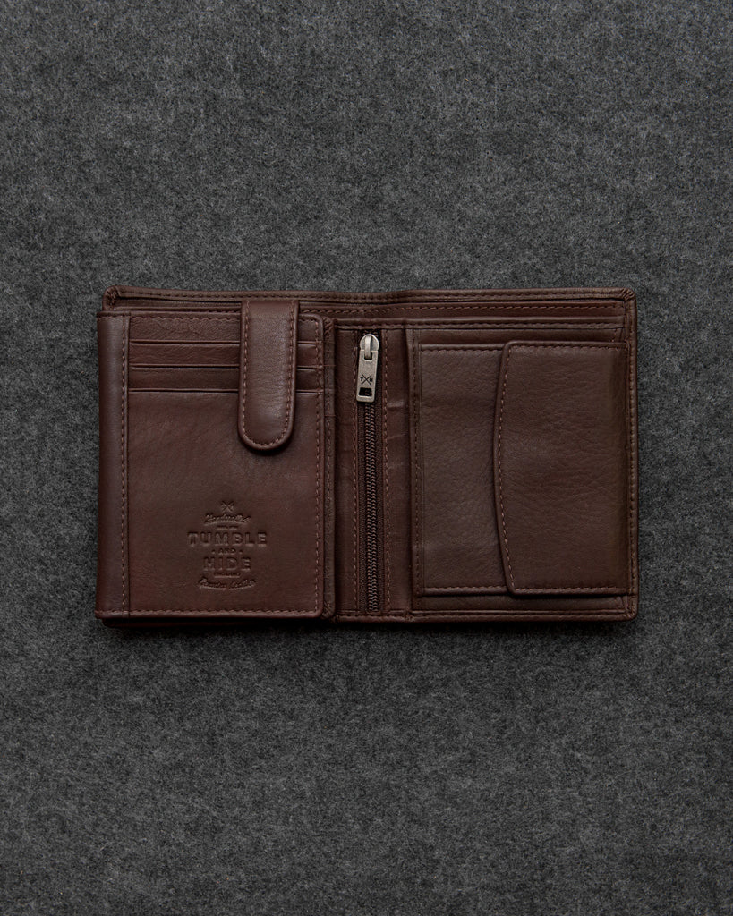 Brown Newton Leather Traditional Large Capacity Wallet - Brown - Gryphen