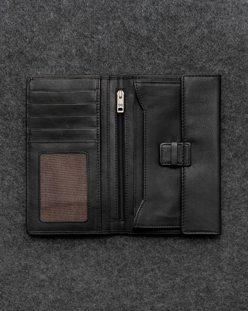 Black Newton Leather Traditional Wallet - Black - Tumble and Hide