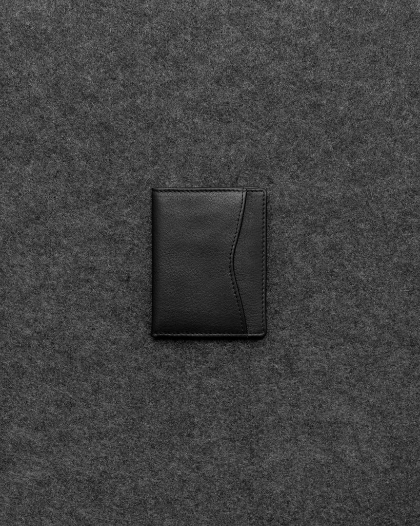 Black Newton Leather Oyster Card Holder - Black - Tumble and Hide
