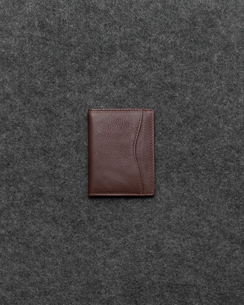 Brown Newton Leather Oyster Card Holder - Brown - Tumble and Hide