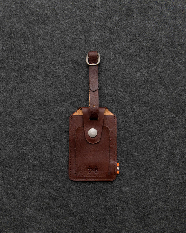 Tumble and Hide Tudor Leather Luggage Tag Brown a