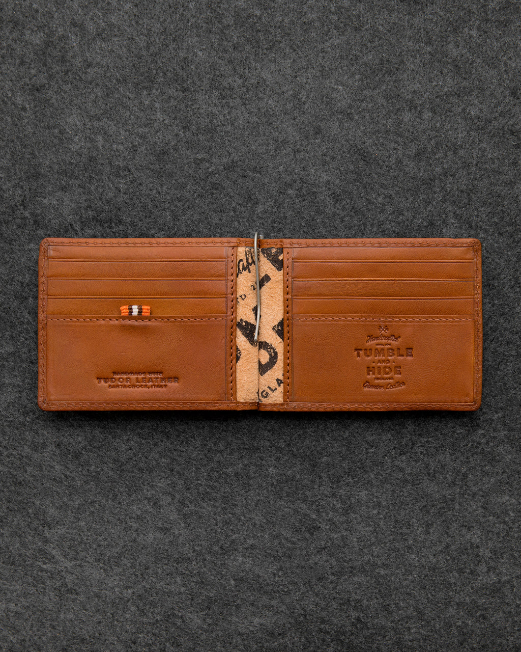Tumble and Hide Tudor Leather Money Clip Wallet Tan a