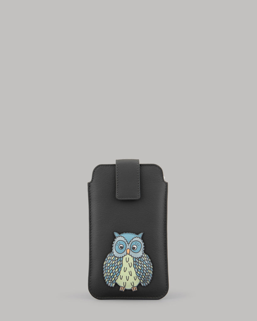 Twit Twoo Charcoal Grey Leather Owl Mobile Phone Case Yoshi A