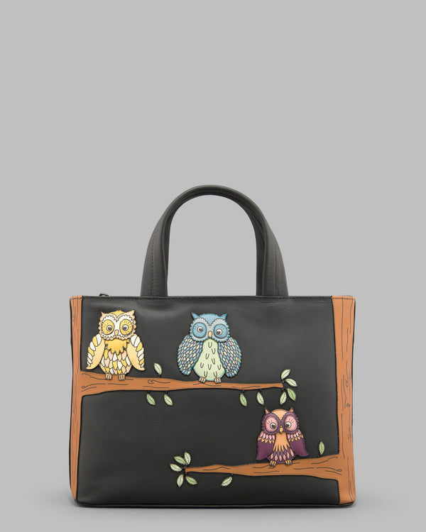 Twit Twoo Charcoal Leather Grab Bag A