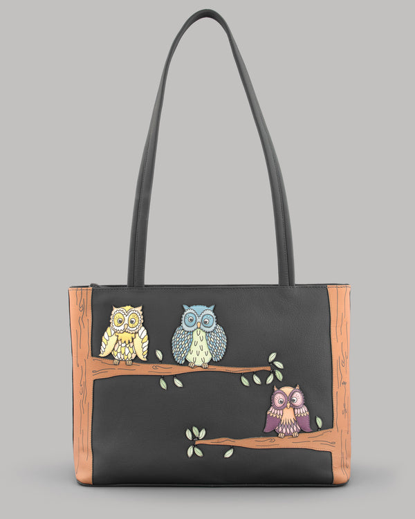 Twit Twoo Charcoal Leather Shoulder Bag A