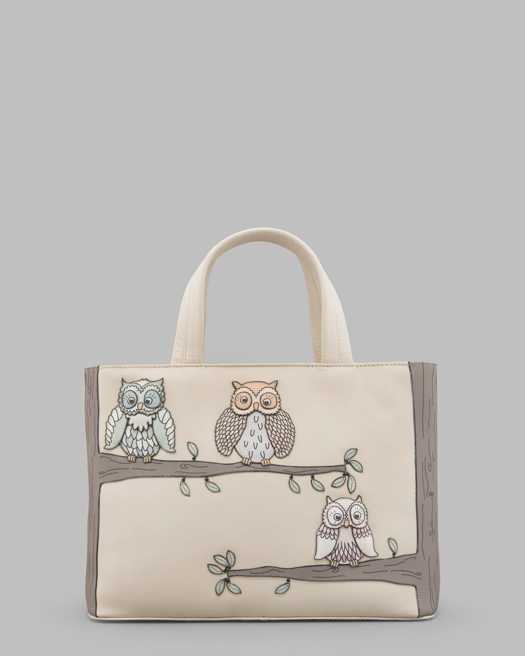 Twit Twoo Cream Leather Grab Bag A