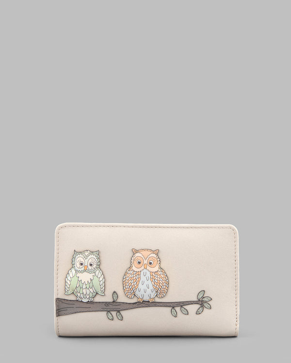 Twit Twoo Zip Around Cream Leather Purse a