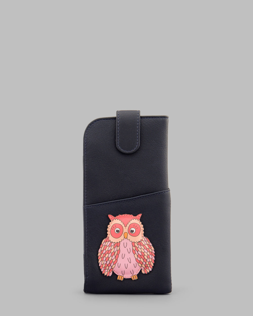 Twit Twoo Navy Leather Glasses Case A