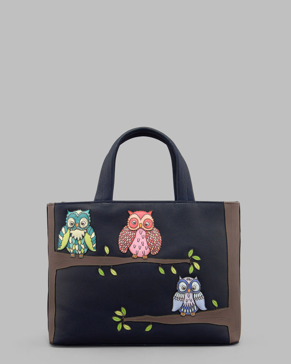 Twit Twoo Navy Leather Grab Bag A
