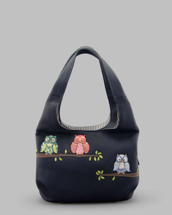 Twit Twoo Navy Leather Slouch Shoulder Bag A