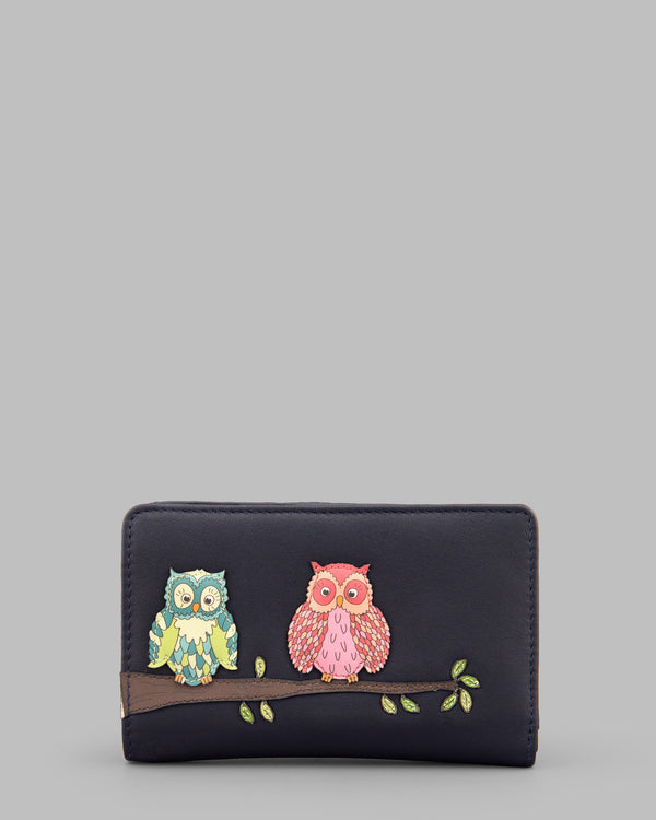 Twit Twoo Navy Leather Zip Round Flap Over Purse A
