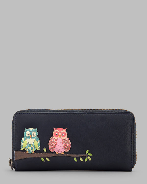 Twit Twoo Navy Leather Zip Round Purse A