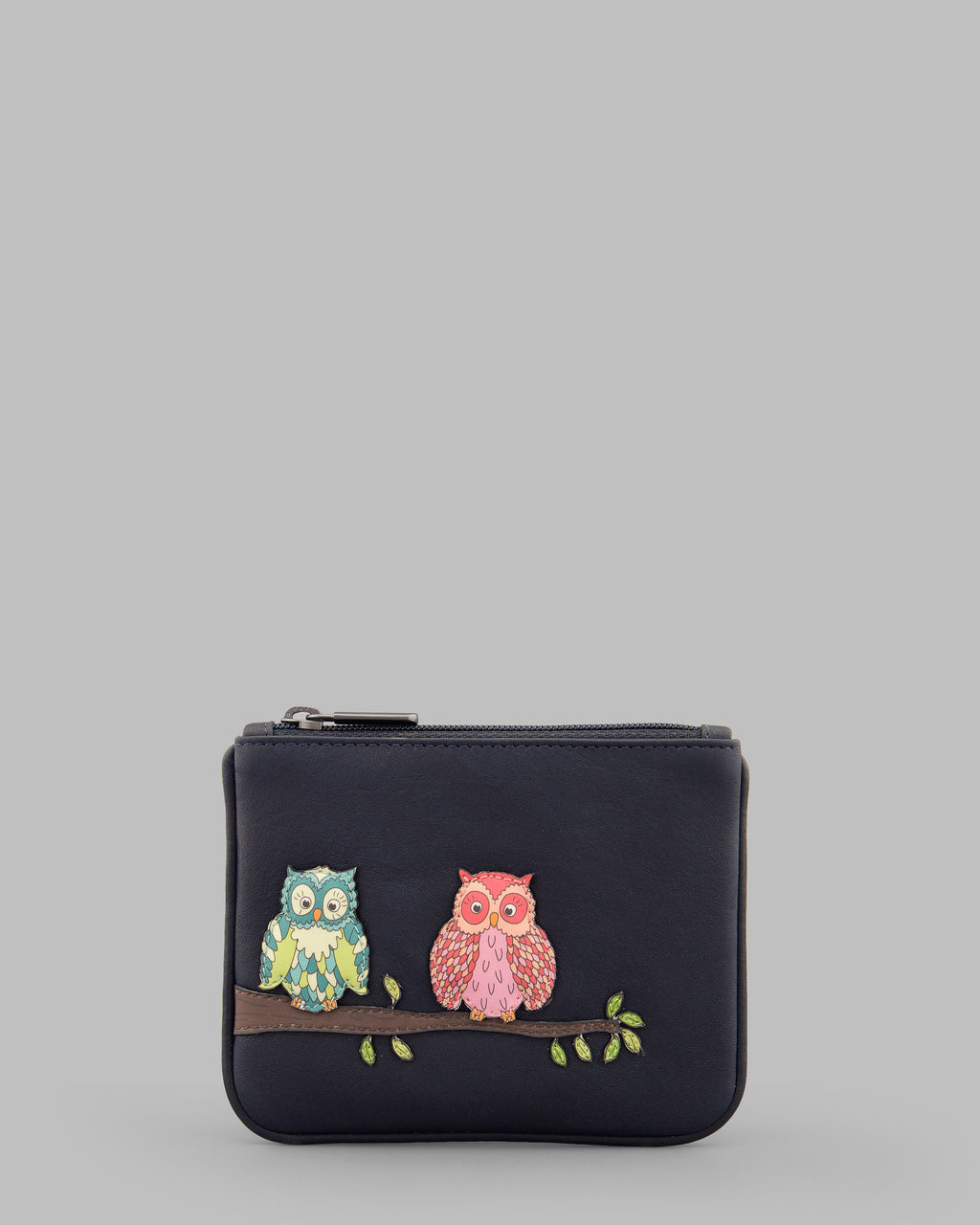 Twit Twoo Navy Leather Zip Top Purse A