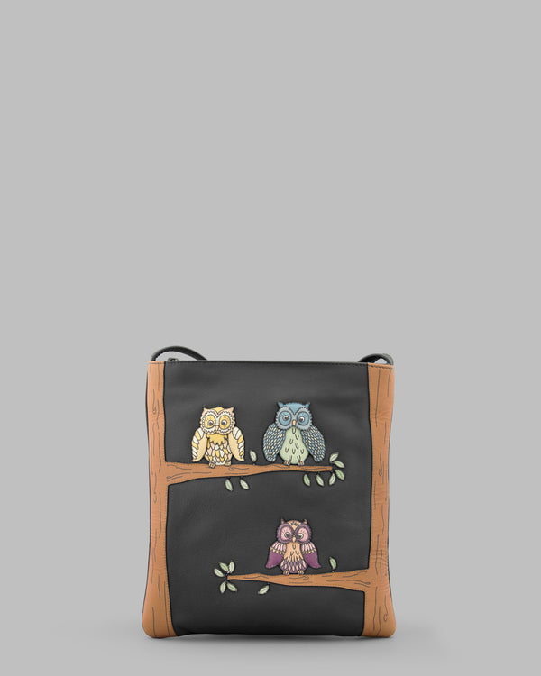 Twit Twoo Charcoal Leather Cross Body Bag a