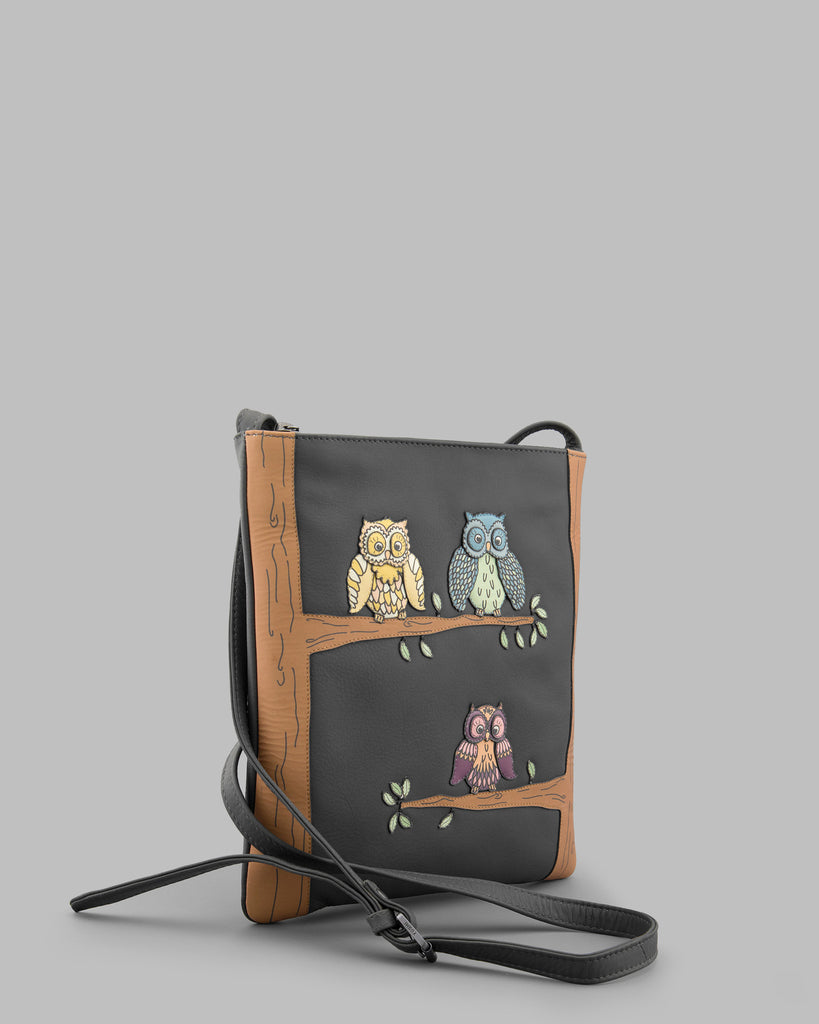 Twit Twoo Charcoal Leather Cross Body Bag c