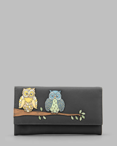 Twit Twoo Charcoal Leather Flap Over Purse a