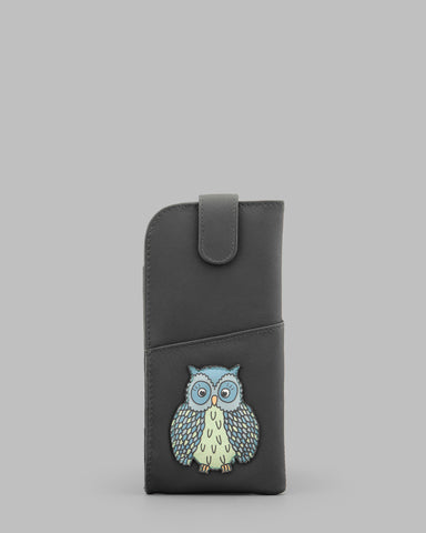 Twit Twoo Charcoal Leather Glasses Case a