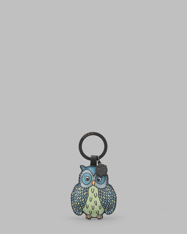 Twit Twoo Charcoal Leather Owl Keyring a