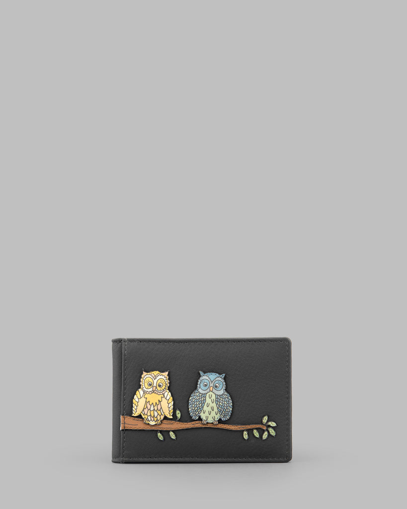 Twit Twoo Charcoal Leather Oyster Card Holder a