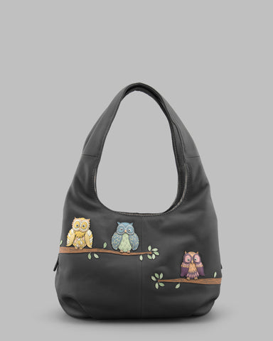 Twit Twoo Charcoal Leather Slouch Shoulder Bag a