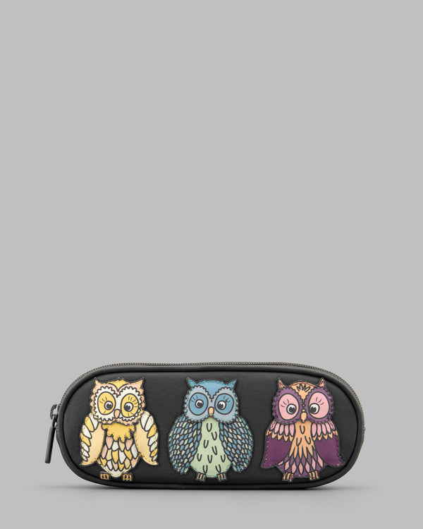 Twit Twoo Owls Charcoal Leather Zip Round Glasses Case a