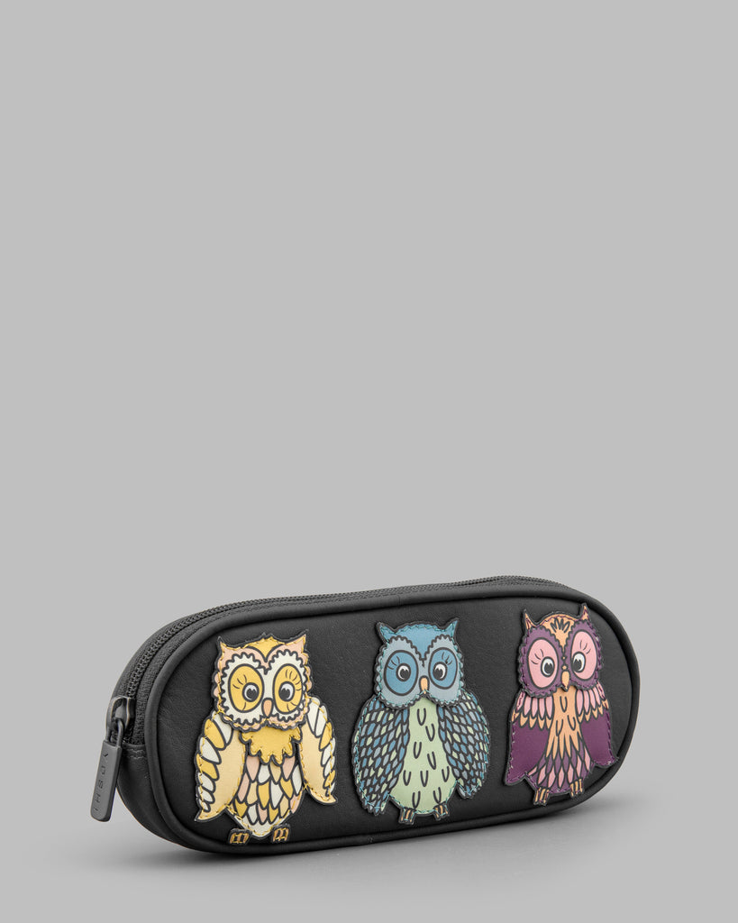 Twit Twoo Charcoal Leather Zip Round Glasses Case b