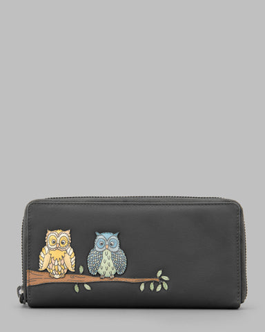 Twit Twoo Charcoal Leather Zip Round Purse a