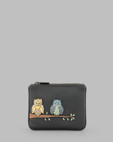 Twit Twoo Charcoal Leather Zip Top Purse a