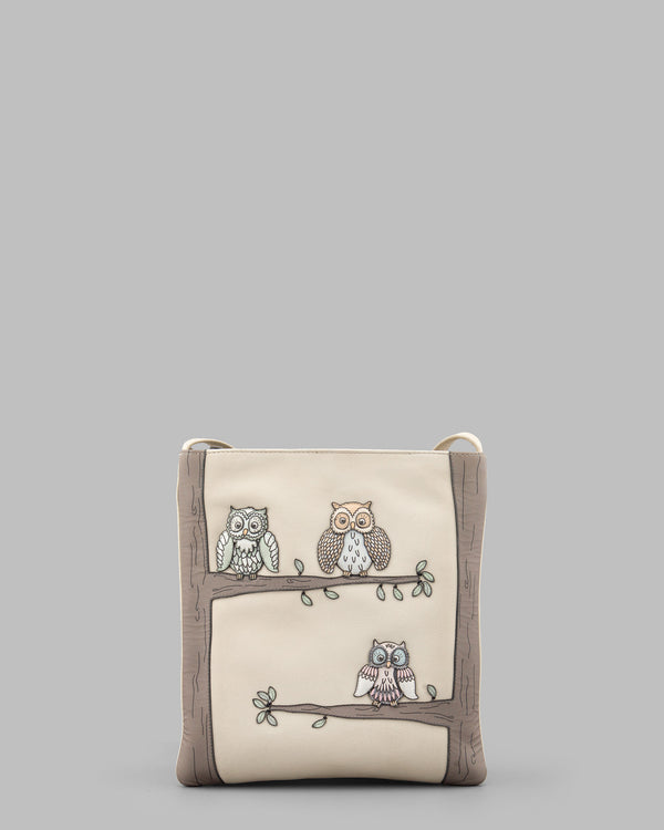 Twit Twoo Owls Cream Leather Cross Body Bag a