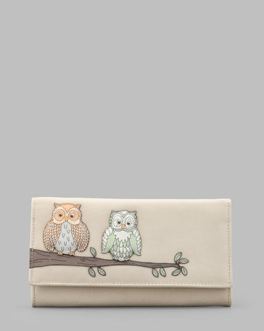 Twit Twoo Cream Leather Flap Over Purse a
