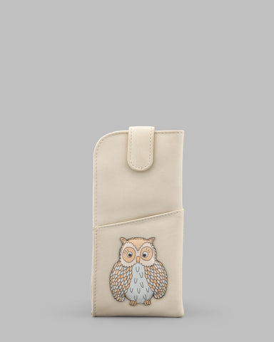 Twit Twoo Cream Leather Glasses Case a