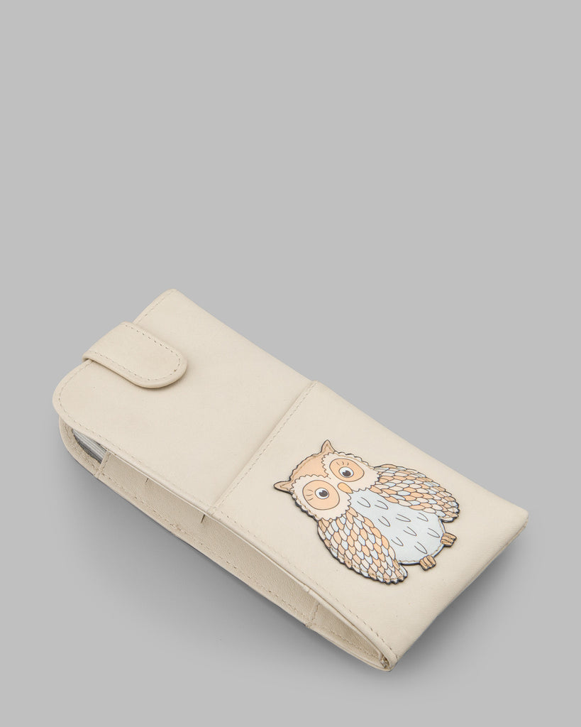 Twit Twoo Cream Leather Glasses Case c