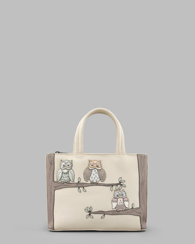 Twit Twoo Owls Cream Leather Grab Bag a