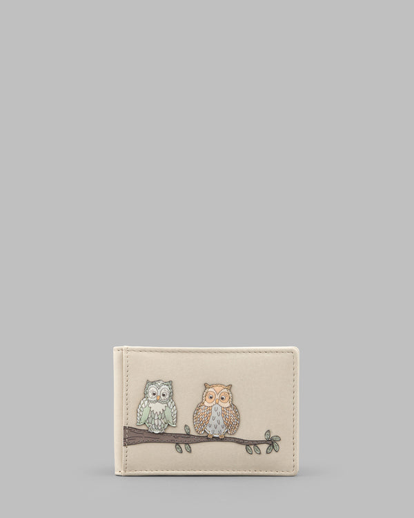 Twit Twoo Cream Leather Oyster Card Holder a
