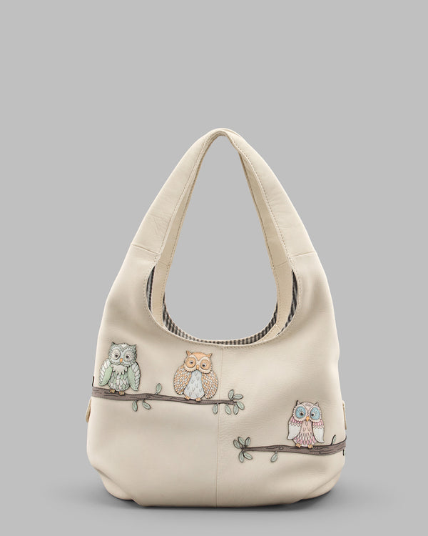 Twit Twoo Cream Leather Slouch Shoulder Bag a