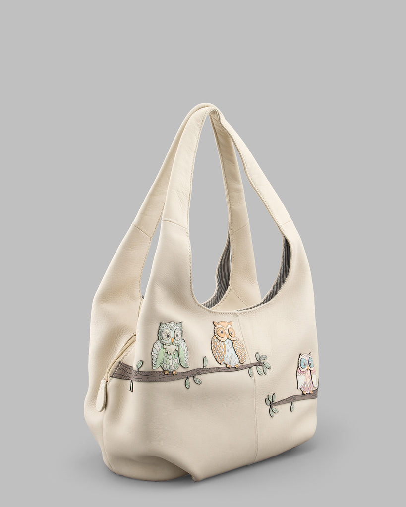 Twit Twoo Cream Leather Slouch Shoulder Bag b