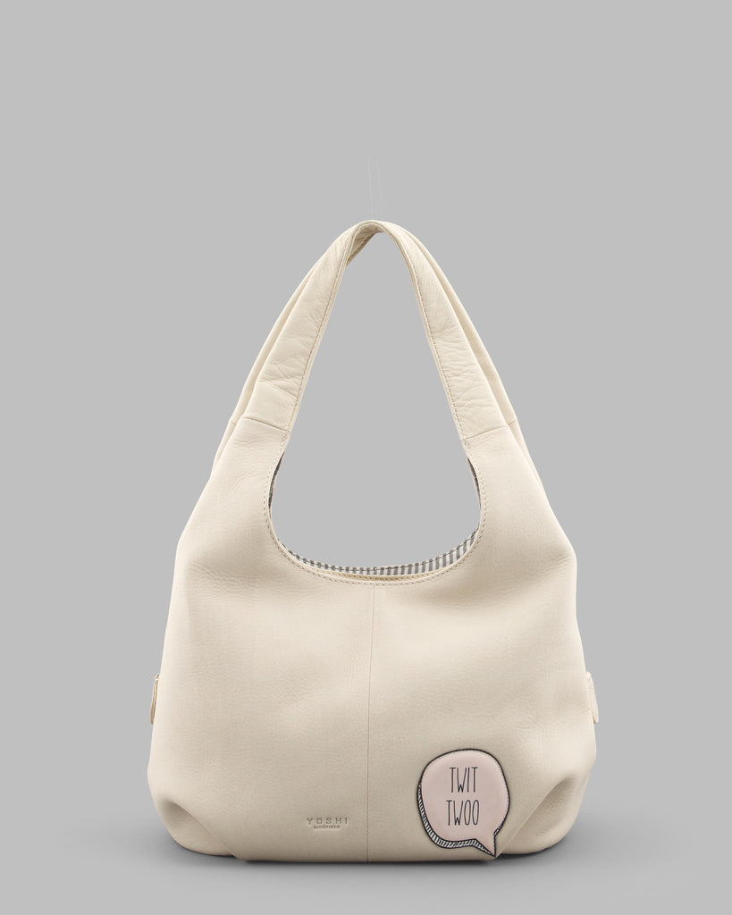 Twit Twoo Cream Leather Slouch Shoulder Bag c