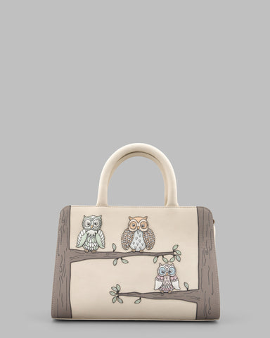 Twit Twoo Owls Cream Leather Tote Bag a