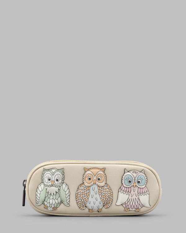 Twit Twoo Owls Cream Leather Zip Round Glasses Case a