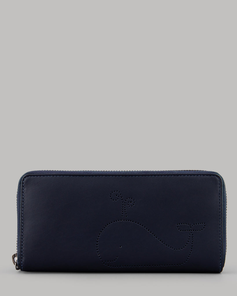 Wilbur Whale Ladies Navy Leather Zip Round Purse by Yoshi