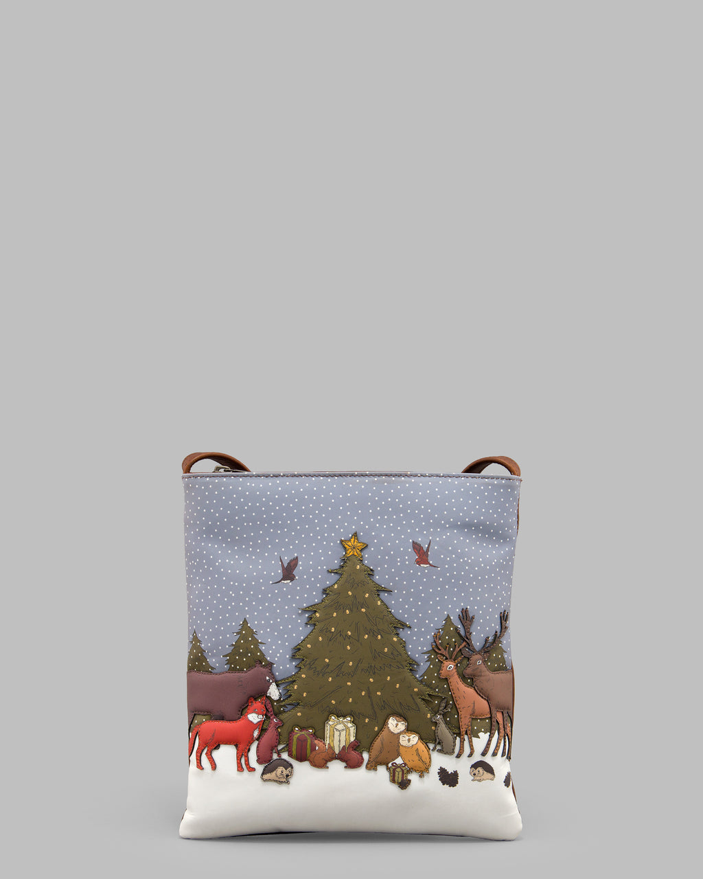Winter Woodland Brown Leather Cross Body Bag A