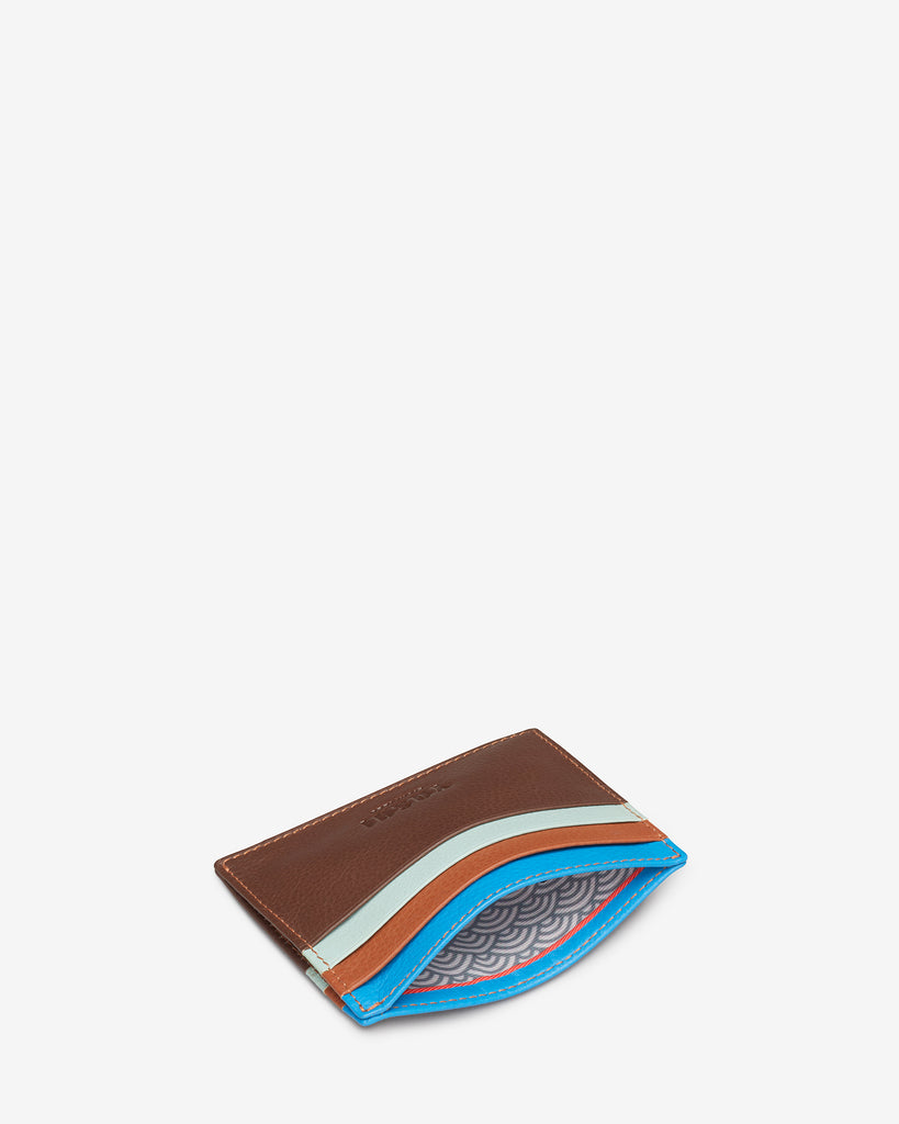 Brown Multi Leather Wooster Card Holder - Yoshi