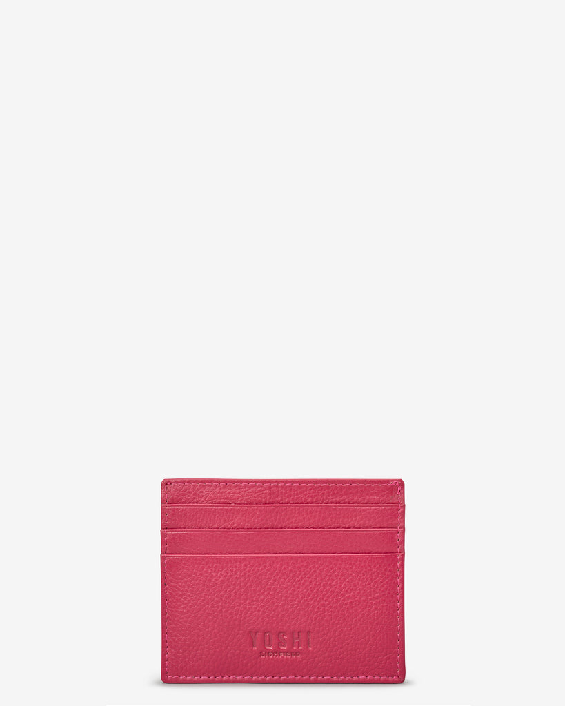 Raspberry Leather Wooster Card Holder - Yoshi