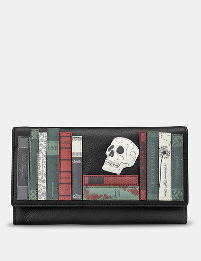 Shakespeare Bookworm Black Leather Hudson Purse - Yoshi
