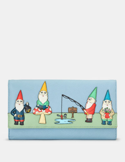 Gnome Sweet Gnome Blue Leather Hudson Purse - Yoshi
