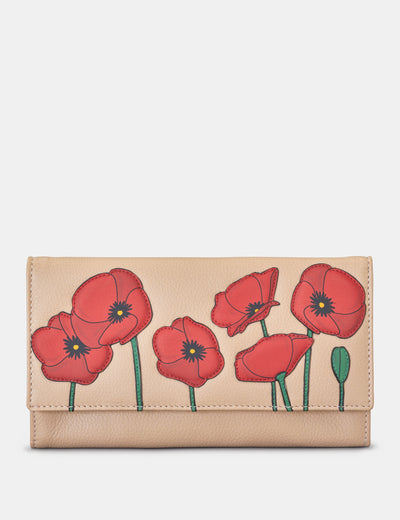 Poppy Flower Frappe Leather Hudson Purse - Yoshi