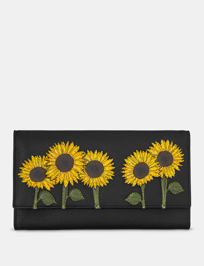 Sunflowers Black Leather Hudson Purse - Yoshi
