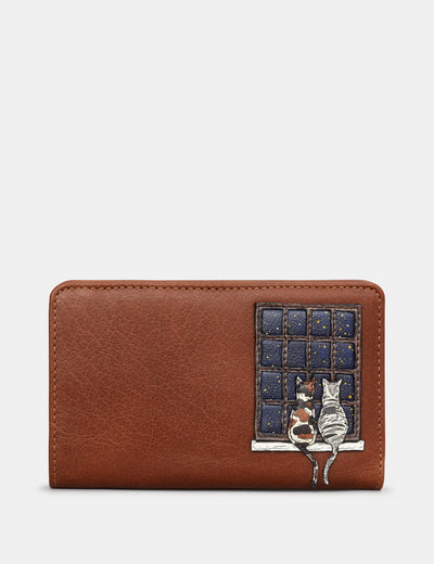 Midnight Cats Brown Leather Oxford Purse - Yoshi