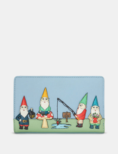 Gnome Sweet Gnome Blue Leather Oxford Purse - Yoshi